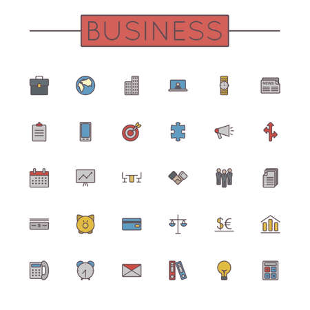 set the intention: Vector Colored Business Line Icons isolated on white background