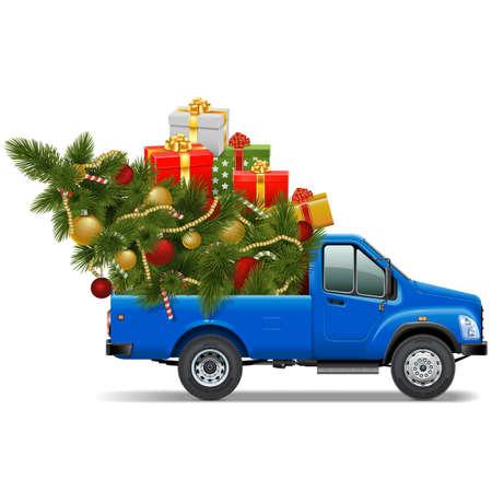 Vector Kerst Pickup geïsoleerd op witte achtergrond Stock Illustratie
