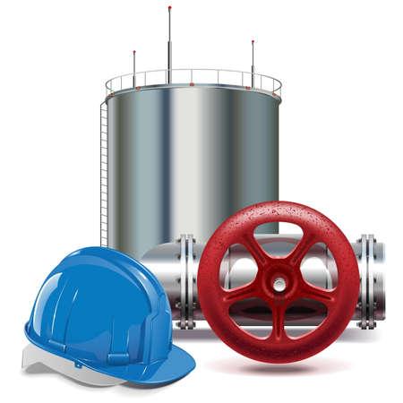 tanque de combustible: Vector Industria petrolera aislado en fondo blanco