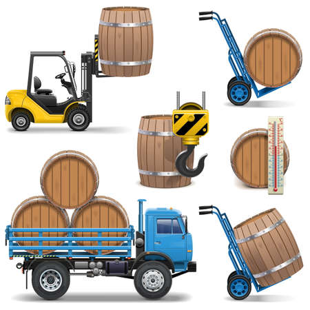 barrow: Vector Barrels Shipping Icons isolated on white background