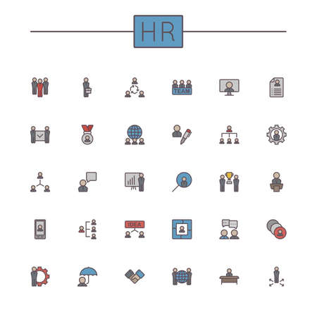 hr: Vector Colored HR Line Icons isolated on white background