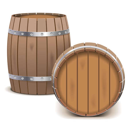 wooden barrel: Vector Barrels isolated on white background Illustration