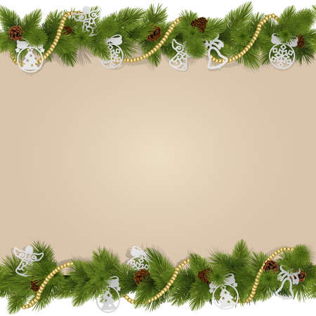 angel tree: Vector Christmas Background with Decorations isolated on white background Illustration