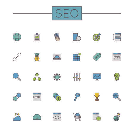 security search: Vector Colored SEO Line Icons isolated on white background