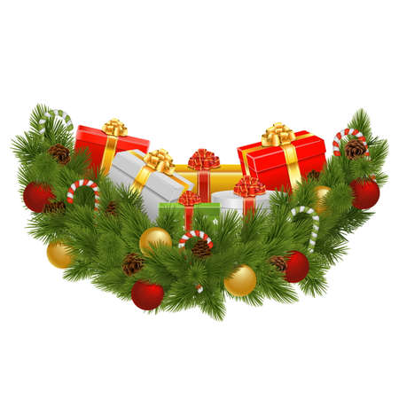 Vector Christmas Decoration with Gifts isolated on white background
