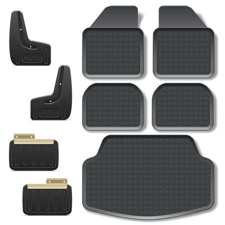 car safety: Vector Car Mats set 2 isolated on white background