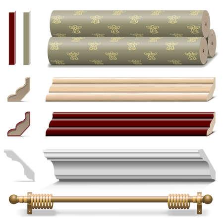 Vector Finishing Muur Materialen geïsoleerd op witte achtergrond Stock Illustratie