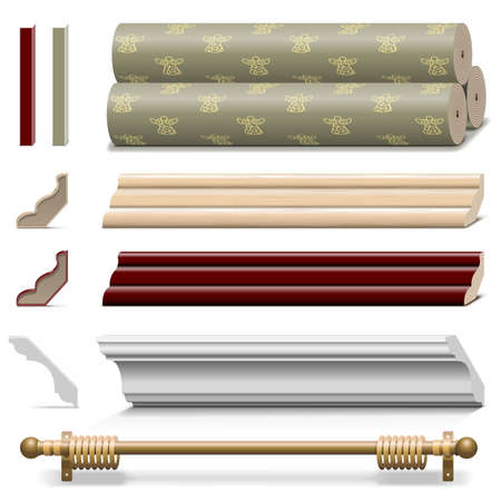 Vector Finishing Wall Materials isolated on white background Ilustrace