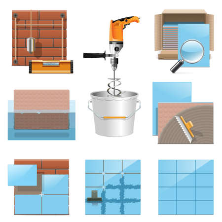 tile grout: Vector Laying Tiles Icons isolated on white background Illustration