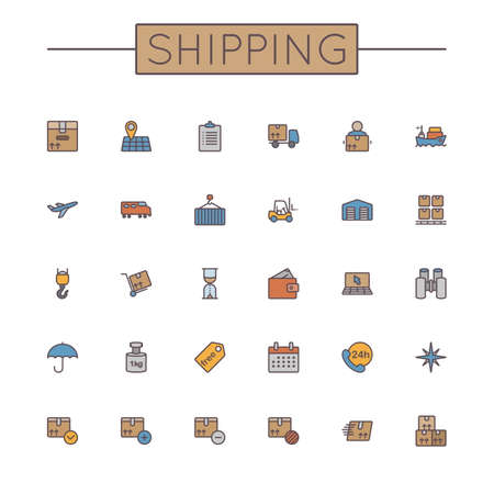 air shipping: Vector Colored Shipping Line Icons isolated on white background Illustration