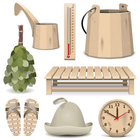 sauna: Vector Bath Accessories Icons isolated on white background