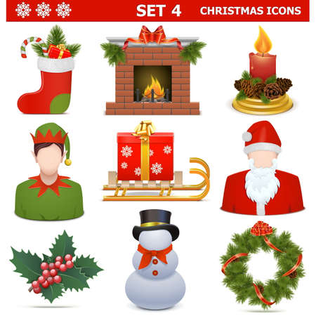 Vector Christmas Icons Set 4 isolated on white background