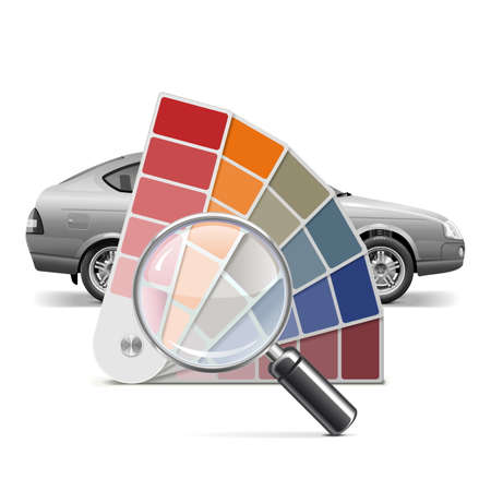 Vector Color Palette for Car isolated on white background Illustration