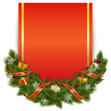 Vector Christmas Decoration with Postcard isolated on white background