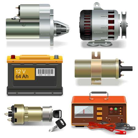 Vector Electric Car Parts iconen op een witte achtergrond