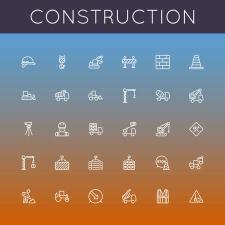 Vector Construction Line Icons  isolated on gradients background