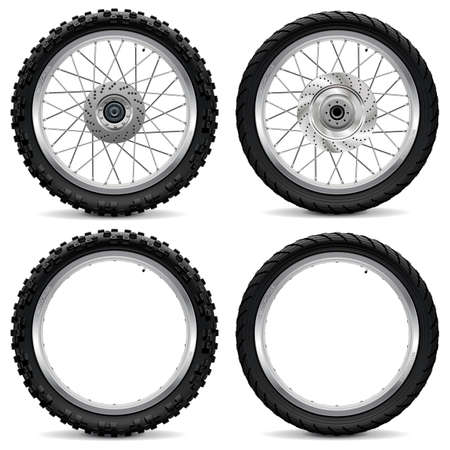 spoke: Vector Motorcycle Wheel Icons isolated on white background