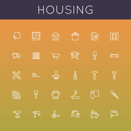 house under construction: Vector Housing Line Icons isolated on gradients background Illustration