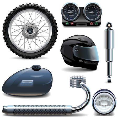headlamp: Vector Motorcycle Spares Icons isolated on white background