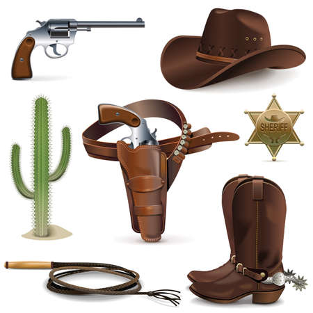 west: Vector Cowboy Icons isolated on white background