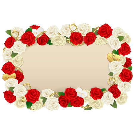 betrothal: Vector Romantic Flower Board isolated on white background Illustration