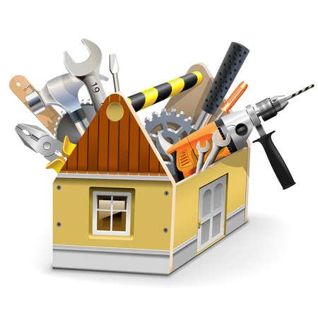 trabajando en casa: Vector Casa Caja de herramientas aisladas sobre fondo blanco