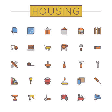 surveying: Vector Colored Housing Line Icons isolated on white background