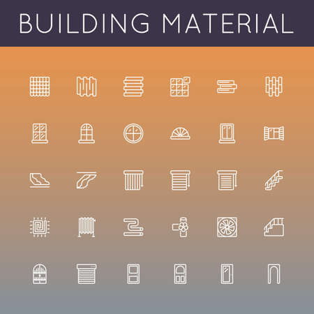 siding: Vector Building Material Line Icons isolated on gradients background