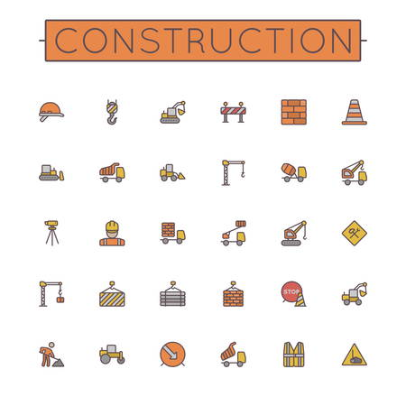 dig up: Vector Colored Construction Line Icons isolated on white background Illustration