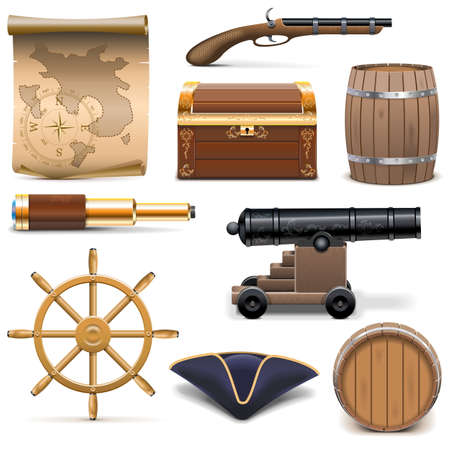 carte tr�sor: Vector Pirate Icons isol� sur fond blanc