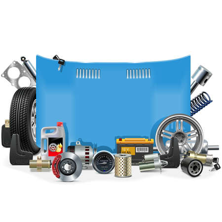 maintenance: Vector Car Spares Frame isolated on white background Illustration