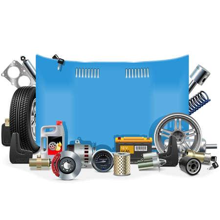 repuestos de carros: Vector marco Repuestos del coche aislado en el fondo blanco Vectores