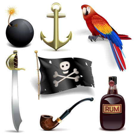 jolly roger pirate flag: Vector Pirate Icons Set 2 isolated on white background Illustration