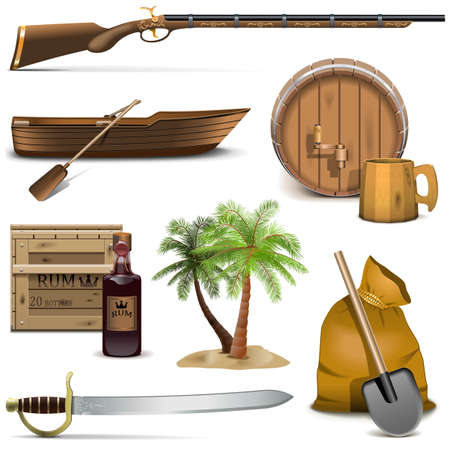 rum: Vector Pirate Icons Set 4 isolated on white background