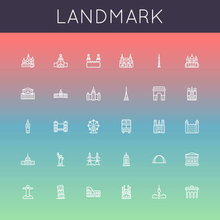 sights: Vector Landmark Line Icons isolated on gradients background Illustration