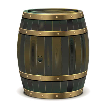 cooper: Vector Old Barrel isolated on white background