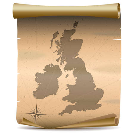 britannia: Vector United Kingdom Vintage Map isolated on white background