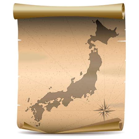 Vector Japan Vintage Kaart op een witte achtergrond