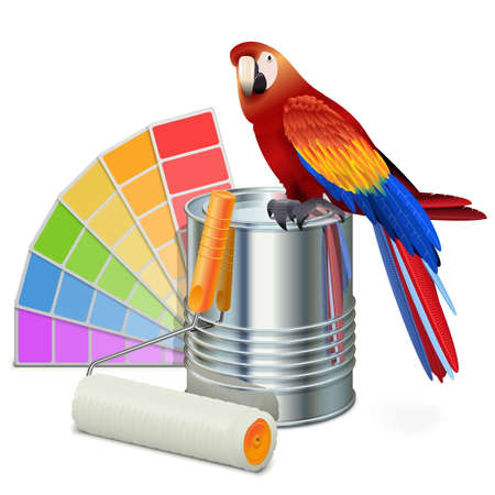 platen: Vector Paint Concept with Parrot isolated on white background