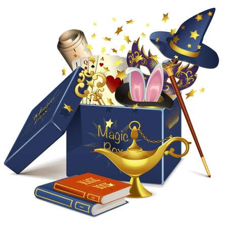 Vector Magic Box isolated on white background Illustration
