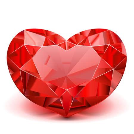 Vector Ruby Heart op een witte achtergrond