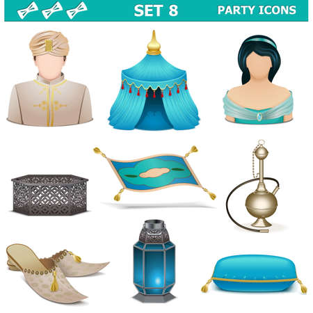 sultan: Vector Party Icons Set 8 isolated on white background