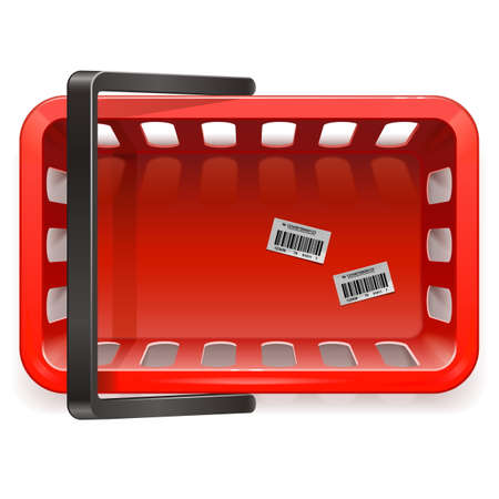 grocery basket: Vector Shopping Basket isolated on white background