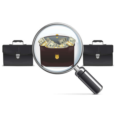 greenbacks: Vector Investment Briefcase with Lens isolated on white background Illustration