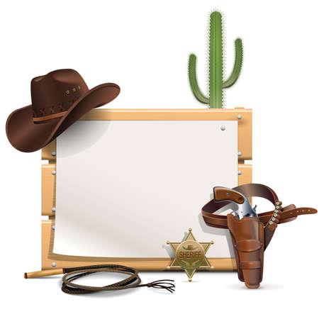 prickles: Vector Cowboy Cornice isolato su sfondo bianco
