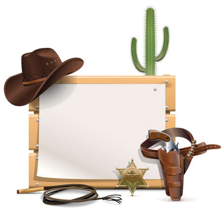 west: Vector Cowboy Frame  isolated on white background Illustration