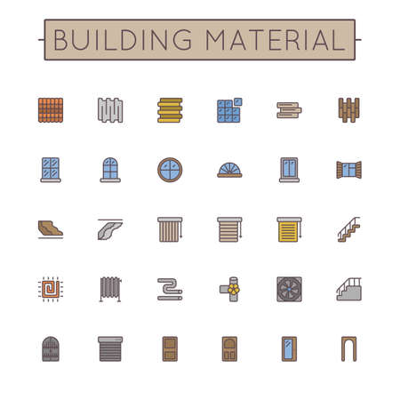 mansard: Vector Colored Building Material Line Icons isolated on white background Illustration
