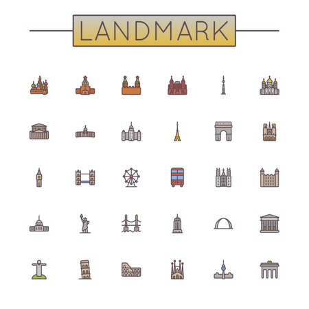 sights: Vector Colored Landmark Line Icons isolated on white background