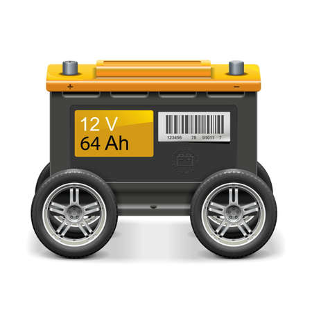 Vector Car Battery on Wheels isolated on white background