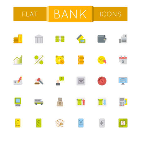 banking and finance: Vector Flat Bank Icons isolated on white background Illustration